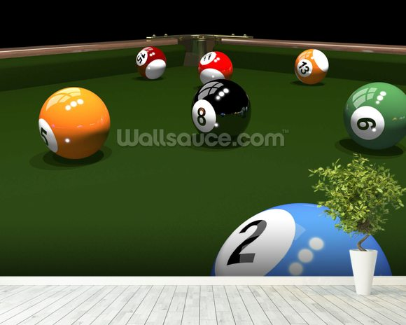 The game of billiards wallpaper mural room setting