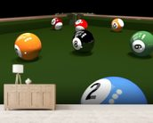 The game of billiards wallpaper mural living room preview