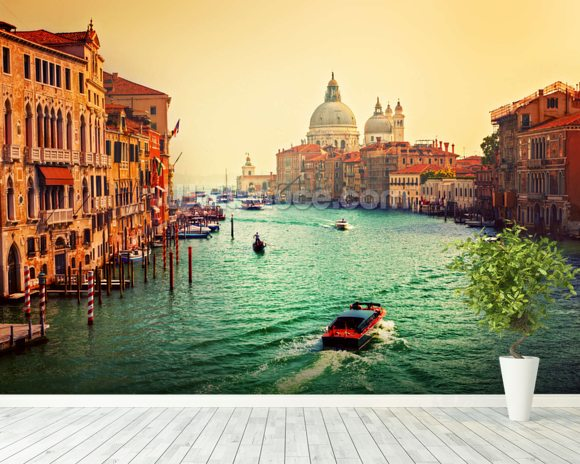 Venice Sunset mural wallpaper room setting