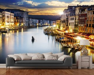 Grand Canal at Night, Venice wallpaper mural