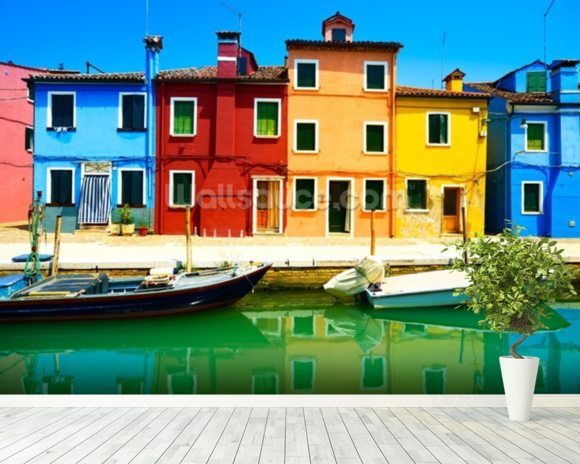 Burano Island mural wallpaper room setting