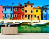 Burano Island mural wallpaper living room preview