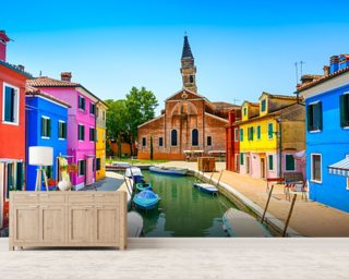 Burano Canal, Houses, Church and Boats wallpaper mural