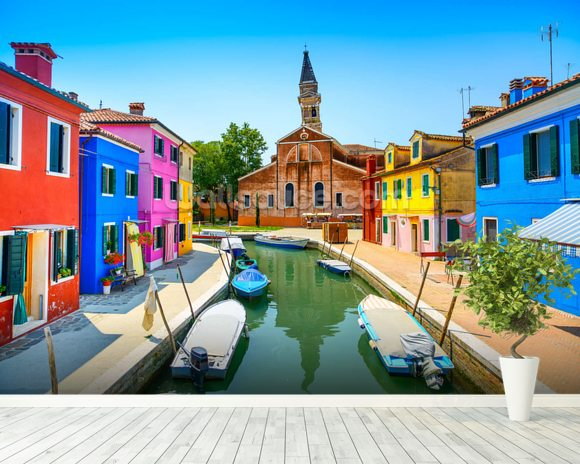 Burano Canal, Houses, Church and Boats wallpaper mural room setting