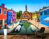 Burano Canal, Houses, Church and Boats wallpaper mural kitchen preview