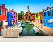 Burano Canal, Houses, Church and Boats wallpaper mural living room preview