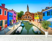 Burano Canal, Houses, Church and Boats wallpaper mural in-room view