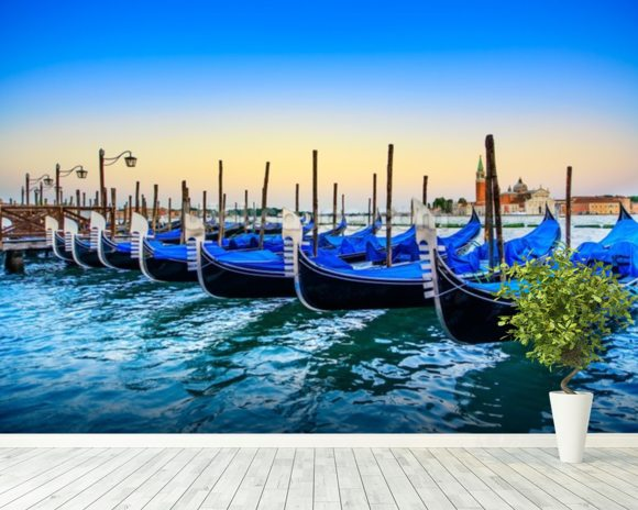 Gondolas at Sunset mural wallpaper room setting