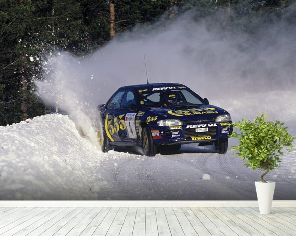 """If In Doubt, Flat Out"" Colin McRae mural wallpaper room setting"