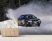 """If In Doubt, Flat Out"" Colin McRae mural wallpaper living room preview"