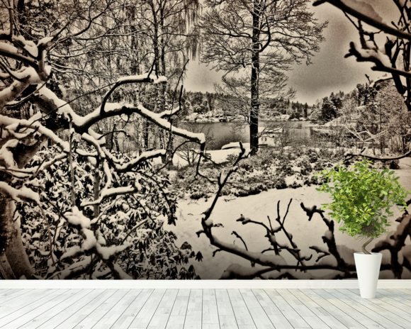 Winter Sweden wall mural room setting