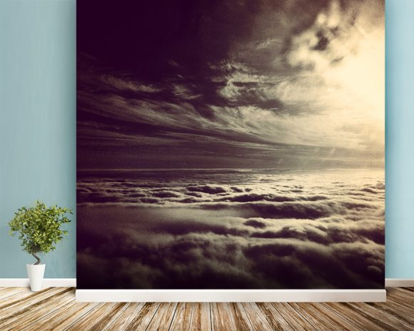 Flying Above The Clouds wallpaper mural room setting