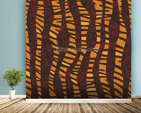 Stripes - Tiger Skin mural wallpaper room setting