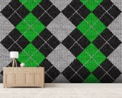 Argyle mural wallpaper living room preview