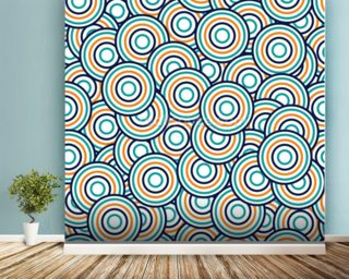 Circles - Blue and Orange wallpaper mural