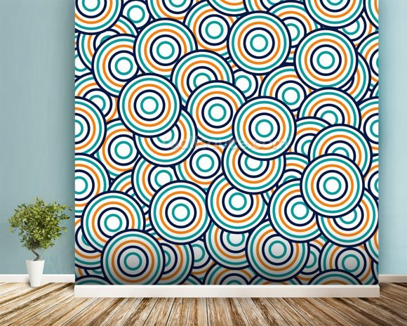 circles blue and orange wallpaper wall mural wallsauce