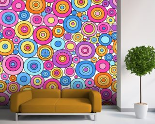 Circles - Colourful Pinks mural wallpaper