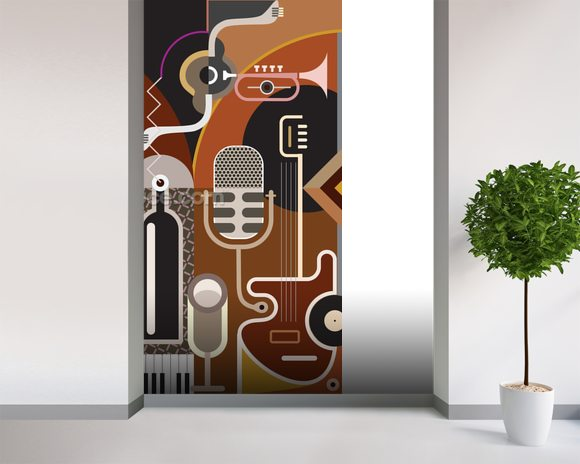 Music Abstract wall mural room setting