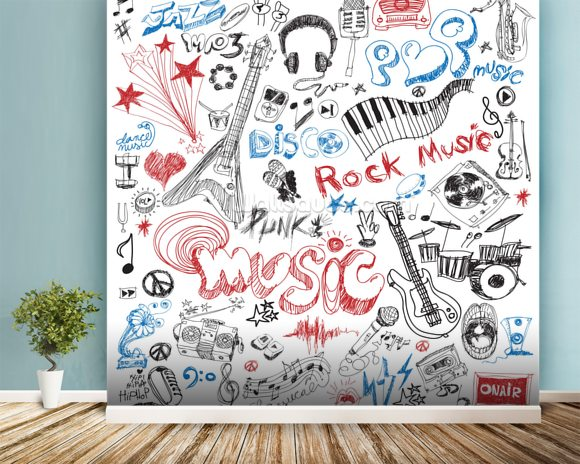 Musical Elements wallpaper mural room setting