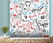Musical Elements wallpaper mural in-room view
