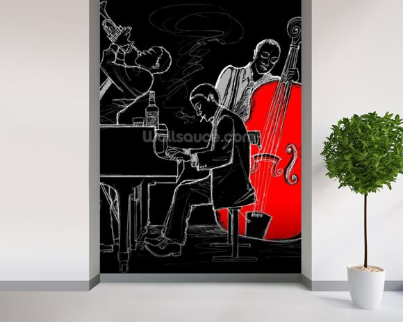 Jazz Trio mural wallpaper room setting