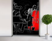 Jazz Trio mural wallpaper in-room view
