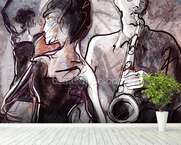 Jazz Band and Dancers mural wallpaper room setting