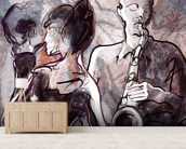 Jazz Band and Dancers mural wallpaper living room preview