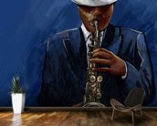Saxophonist wallpaper mural kitchen preview