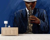 Saxophonist wallpaper mural living room preview