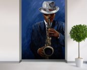 Saxophonist wallpaper mural in-room view