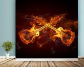 Guitars on Fire mural wallpaper in-room view