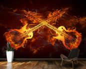 Guitars on Fire mural wallpaper kitchen preview