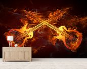 Guitars on Fire mural wallpaper living room preview