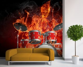 Drummer on Fire Wallpaper Wall Murals