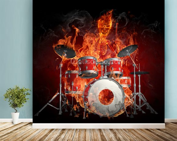 Drummer on Fire wallpaper mural room setting