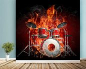 Drummer on Fire wallpaper mural in-room view