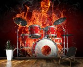 Drummer on Fire wallpaper mural kitchen preview
