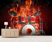 Drummer on Fire wallpaper mural living room preview