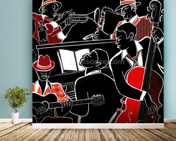 Jazz Band mural wallpaper room setting