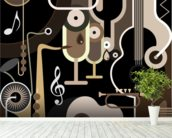 Instruments Abstract wall mural in-room view