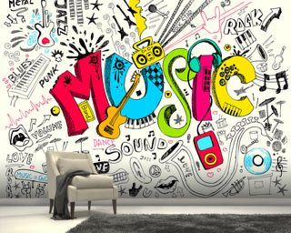 photo wallpaper amp photograph wall murals wallsauce colorful music instruments background wall mural music
