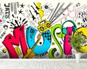 Music Doodle wall mural in-room view