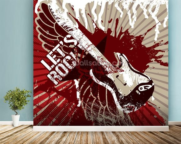 Let's Rock wallpaper mural room setting