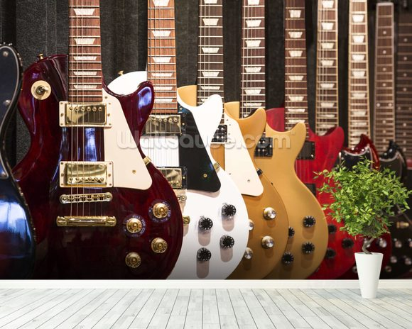 Electric Guitars mural wallpaper room setting
