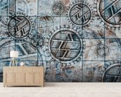 Tribal Blue mural wallpaper living room preview