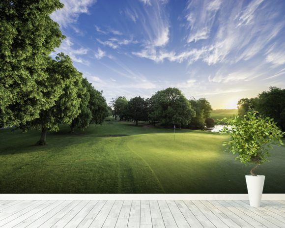 Dawn Sunburst, The Hertfordshire Golf & Country Club, England wallpaper mural room setting
