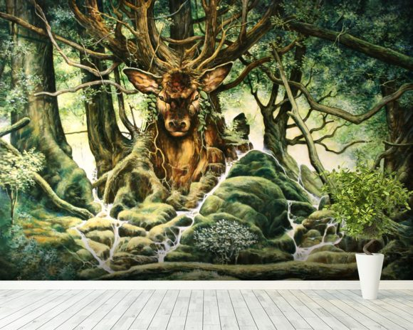 Deer Tree of Brocéliande wall mural room setting