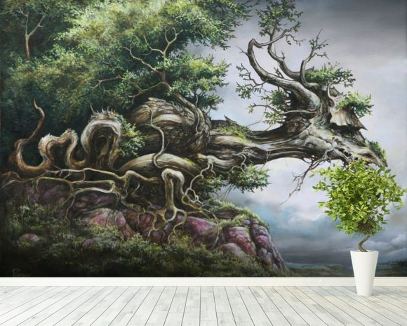 Dragon Tree wallpaper mural room setting