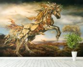 Autumn Horse wall mural in-room view